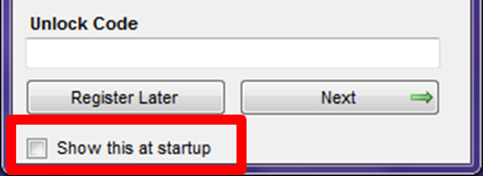 Registration Form Show this at Startup